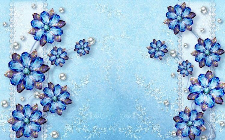 3D фотообои 3D Фотообои «Драгоценные цветы на голубом фоне» вид 1