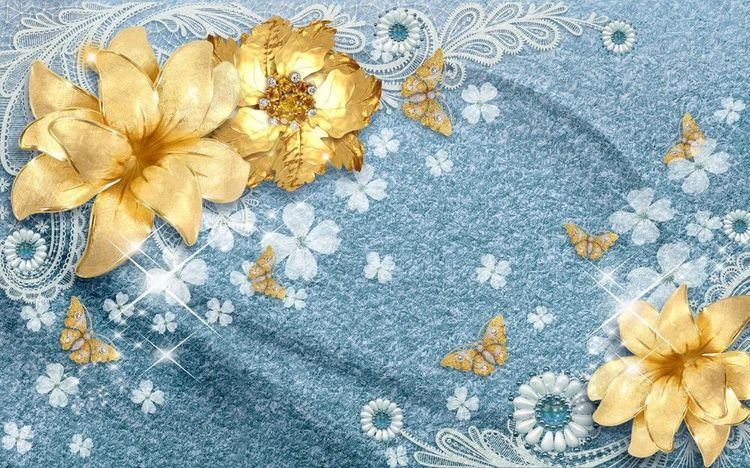 3D Фотообои «Золотые цветы с бабочками на голубой ткани»<br>kit: None; gender: None;