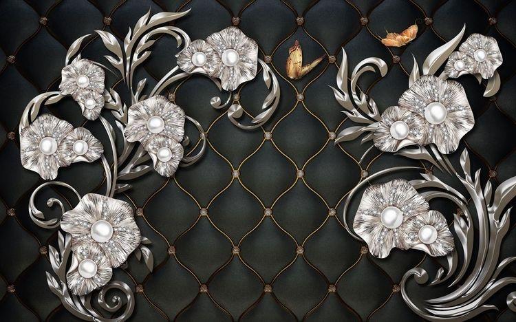 3D фотообои «Цветочный узор в аристократическом стиле» вид 1