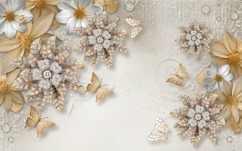 3D Фотообои «Объемные цветы со стразами и бабочками»<br>kit: None; gender: None;