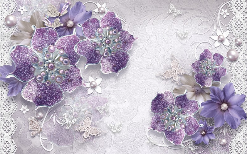 3D фотообои «Ювелирные фиолетовые цветы» вид 1