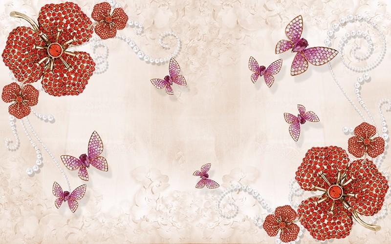 3D Фотообои «Композиция с ювелирными бабочками»<br>kit: None; gender: None;
