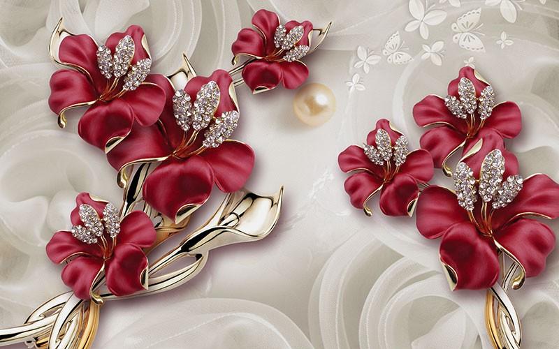 3D фотообои «Драгоценные лилии» вид 1