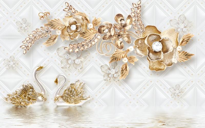 3D Фотообои «Роскошные ювелирные цветы с лебедями»<br>kit: None; gender: None;