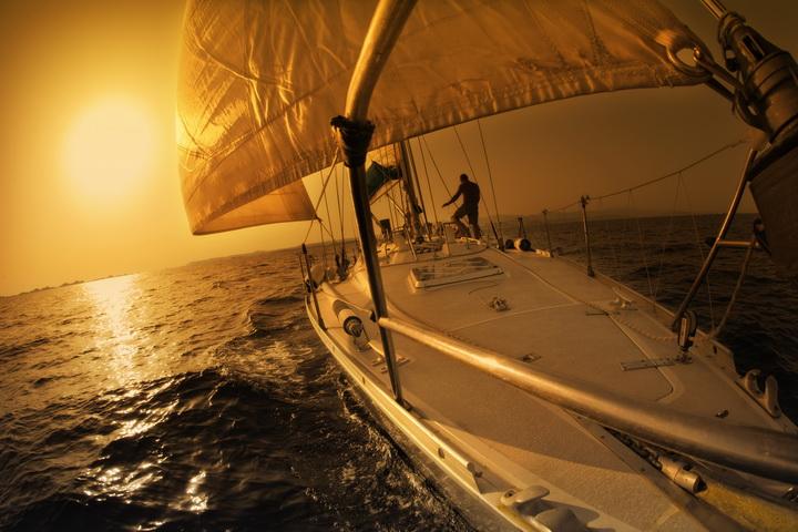 """3D Фотообои  """"Яхтинг на закате"""""""