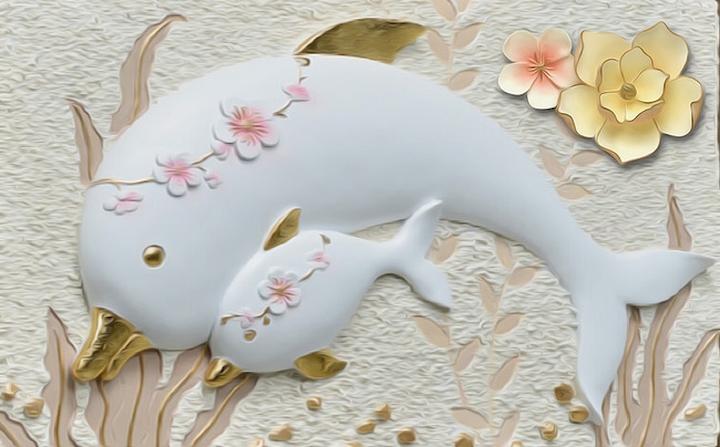 3D Фотообои  Объемная композиция с дельфинами<br>kit: None; gender: None;