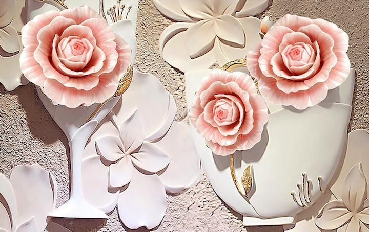 """3D Фотообои  """"Объемная композиция с бутонами роз"""""""