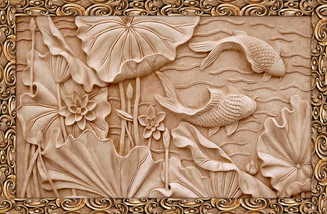 3D фотообои «Резьба по дереву в китайском стиле» вид 1