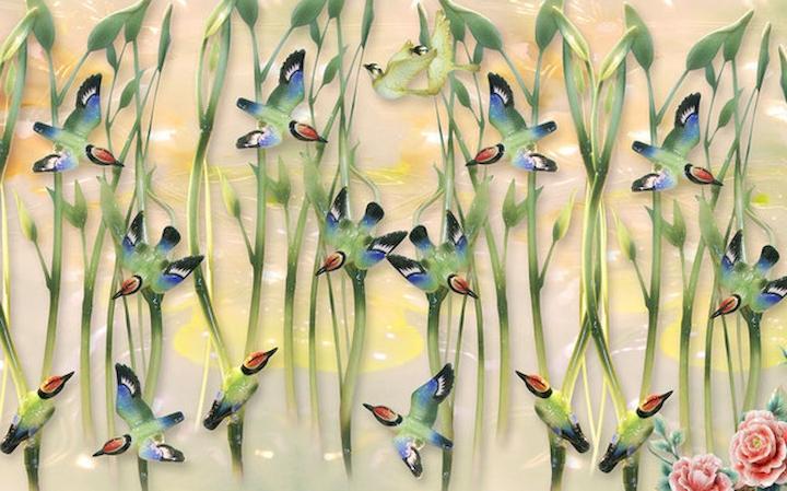 """3D Фотообои  """"Птицы и бамбук на керамике"""""""