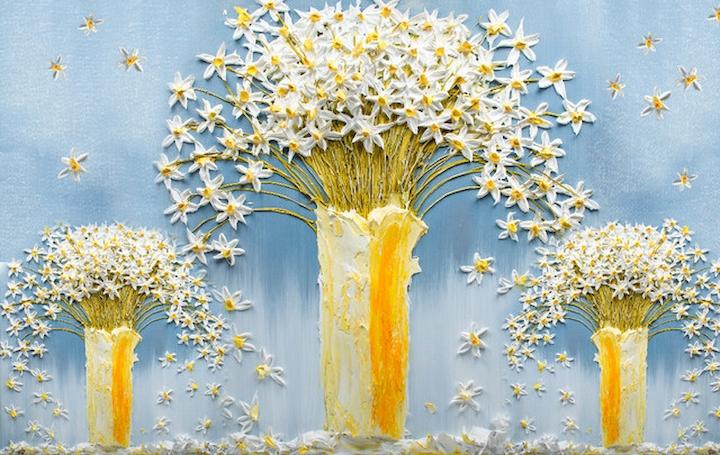 """3D Фотообои  """"Объемная живопись: вазы с цветами"""""""
