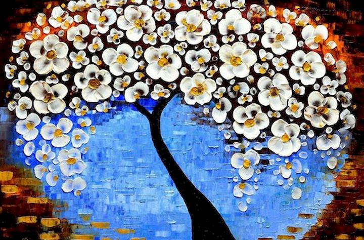 """3D Фотообои  """"Объемная живопись: цветущее дерево"""""""