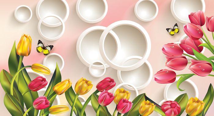 3D Фотообои  Красно-желтые тюльпаны с бабочками<br>kit: None; gender: None;