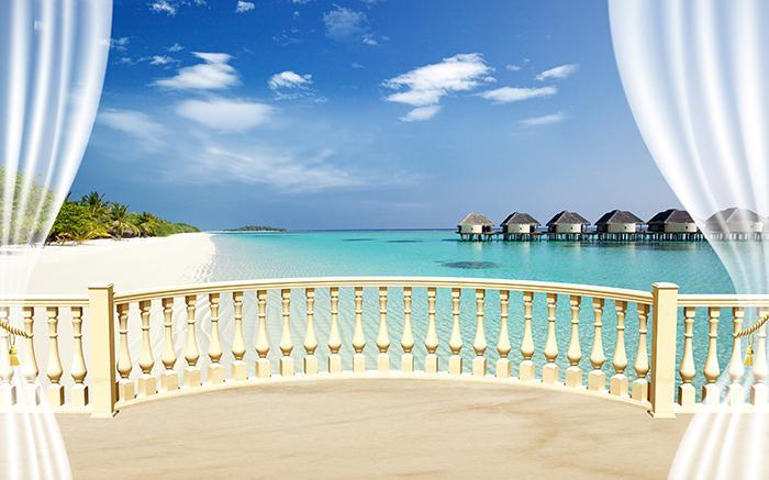 """3D Фотообои  """"С видом на террасу Мальдивы"""""""