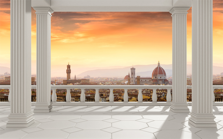 "3D Фотообои  ""Балкон с колоннами вид на Ватикан"""