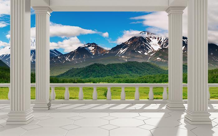 "3D Фотообои  ""Балкон с колоннами вид на горную природу"""