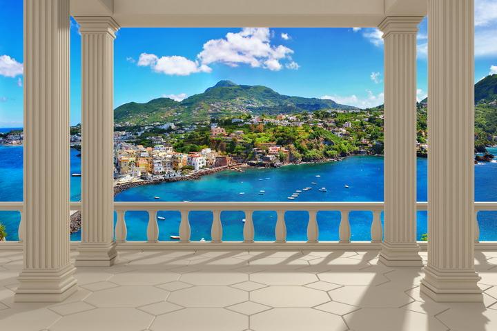 """3D Фотообои  """"Балкон с колоннами средиземноморский пейзаж"""""""