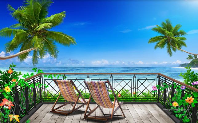 """3D Фотообои  """"Терраса-балкон с видом на солнечный пляж"""""""