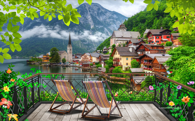 """Фотообои """"3D Фотообои  """"Терраса-балкон с видом на деревню у озера"""" """""""
