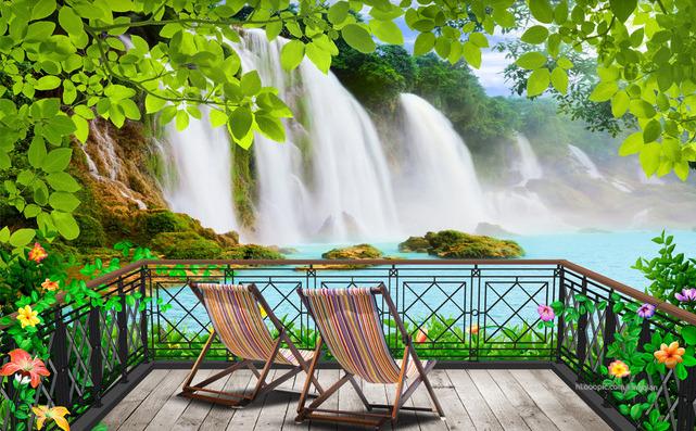 """3D Фотообои  """"Терраса-балкон с видом на водопад"""""""