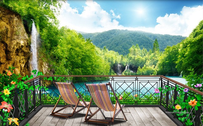 """3D Фотообои  """"Балкон в долине водопадов"""""""