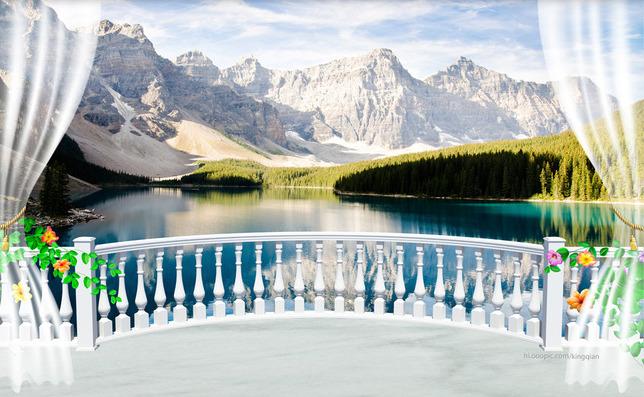"""3D Фотообои  """"Вид с балкона на горное озеро"""""""