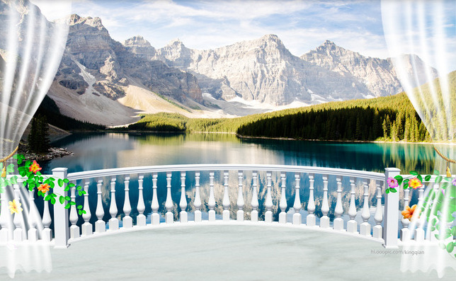 3D Фотообои  Вид с балкона на горное озеро<br>kit: None; gender: None;