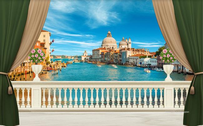 """Фотообои """"3D Фотообои  """"Венеция: вид с балкона"""""""""""