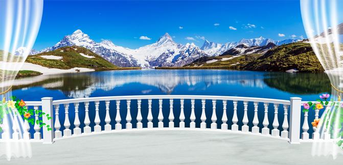"""3D Фотообои  """"Вид с балкона террасы на горы"""""""