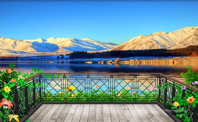 """3D Фотообои  """"С видом на балкон в горах"""""""