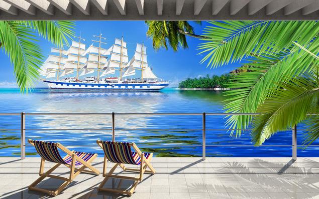"Фотообои ""3D Фотообои  ""Балкон с видом на море"" """