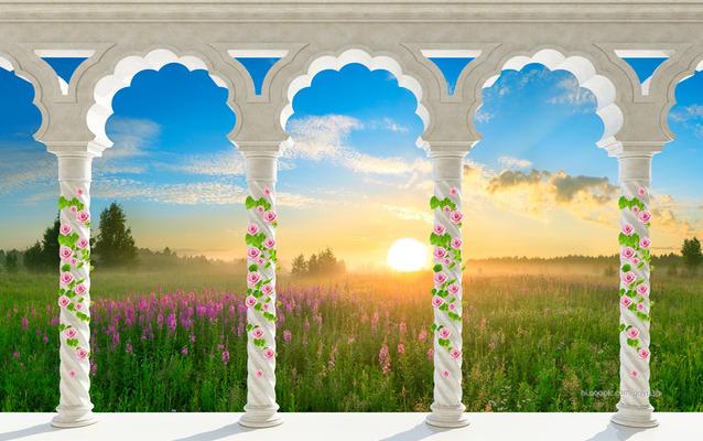 "3D Фотообои  ""Арки-колонны: луга на закате"""