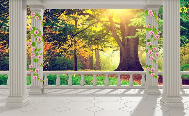 """3D Фотообои  """"Терраса в саду"""""""