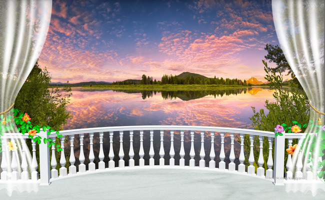 "3D Фотообои  ""Веранда с видом природы на закате"""