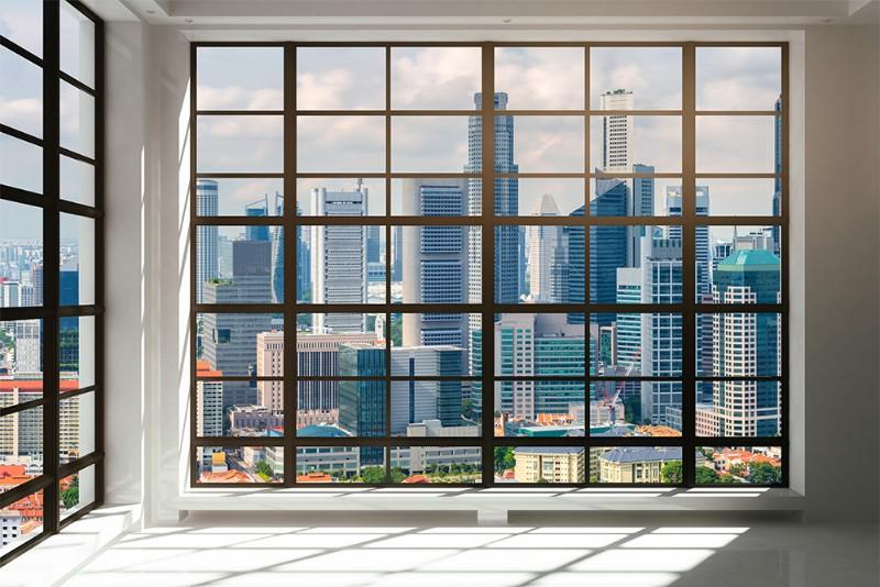 3D Фотообои «Окна с панорамным видом на город»<br>kit: None; gender: None;