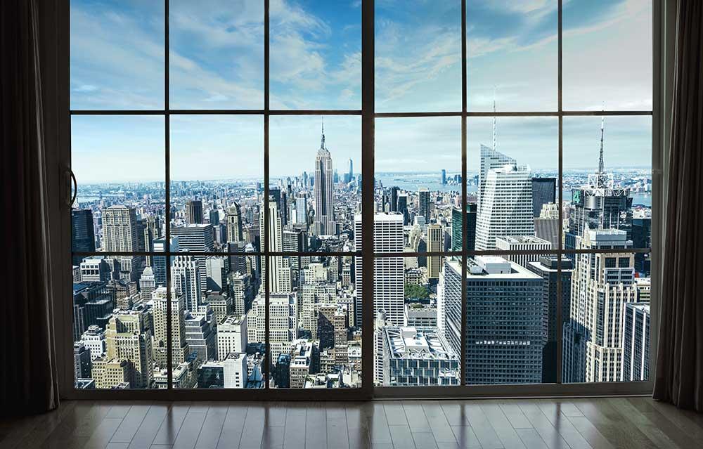 3D Фотообои «Вид из окна на современный город»<br>kit: None; gender: None;