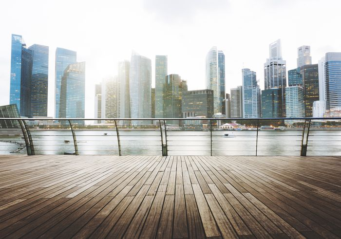 3D Фотообои «Вид с набережной на мегаполис»