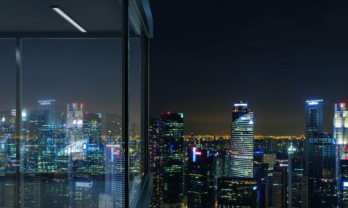 """Фотообои """"3D Фотообои «Ночной город отражающийся в окне»"""""""