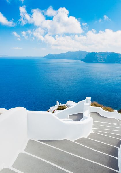 3D Фотообои «Белая лестница. Санторини»
