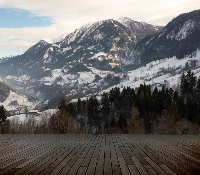 3D Фотообои «Вид с террасы в горах»