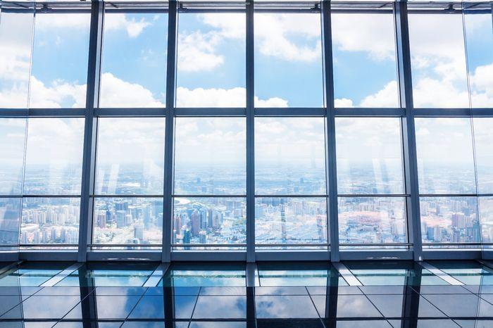 3D Фотообои «Вид из окна небоскреба»