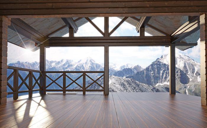 3D Фотообои «Вид с террасы альпийского шале»