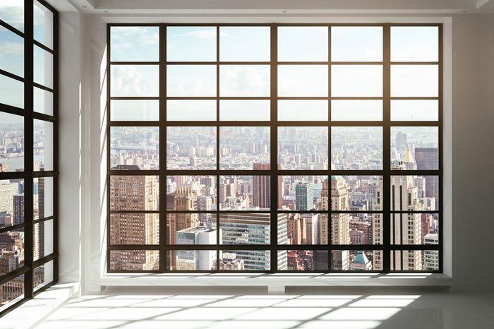 3D Фотообои «Окна с панорамным видом на город»