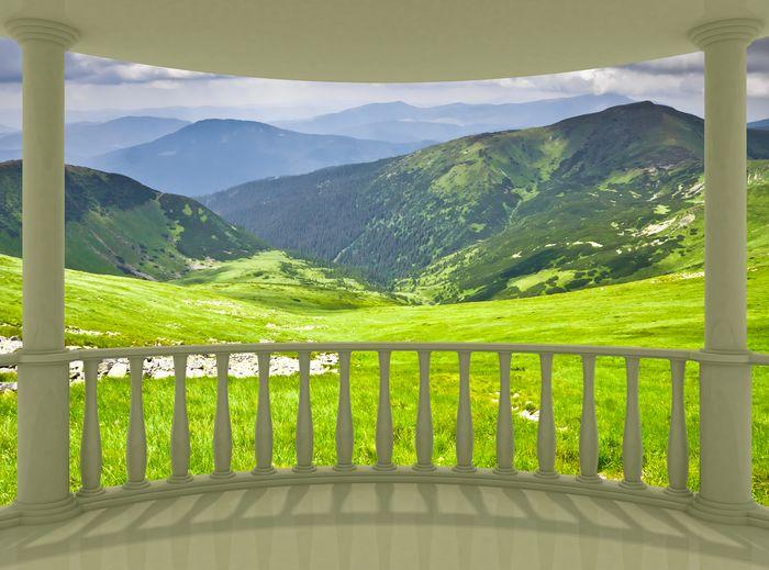 """Фотообои """"3D Фотообои «Зеленые луга в горной долине»"""""""