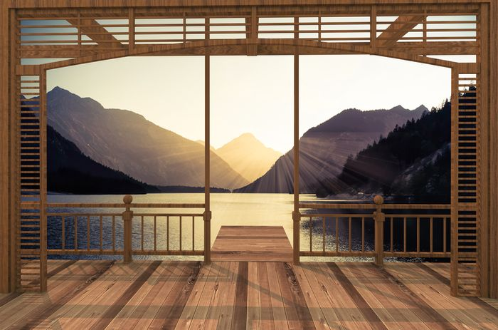 """Фотообои """"3D Фотообои «Рассвет в горах»"""""""