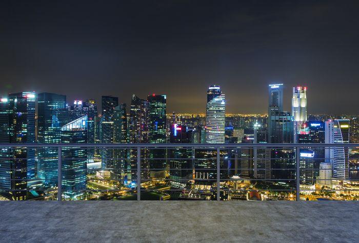 3D Фотообои «Вид с балкона на ночной мегаполис»