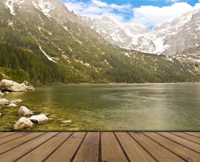 3D Фотообои «Терраса из досок у горного озера»