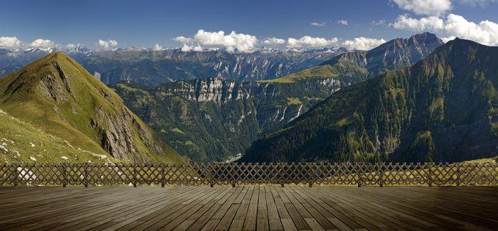 """Фотообои """"3D Фотообои «Терраса из досок в горах»"""""""