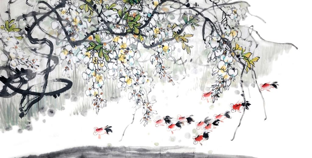 """3D Фотообои  """"Японские мотивы: Цветущее дерево"""""""