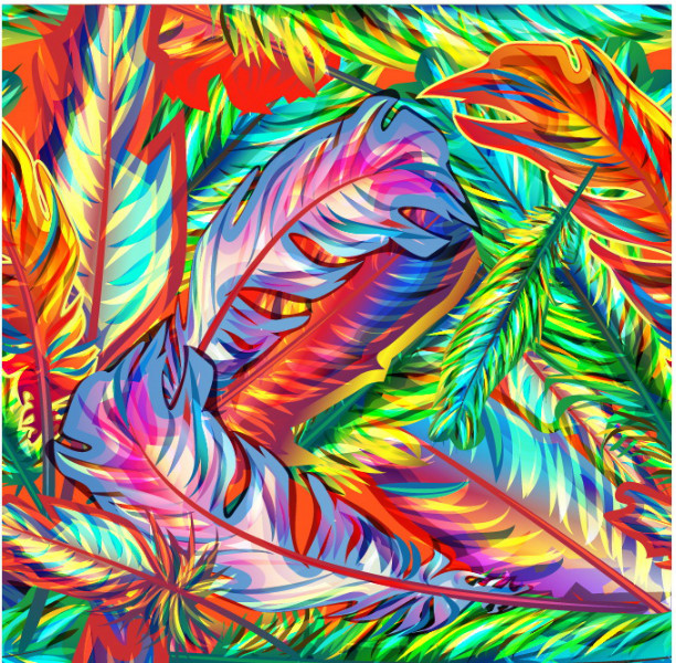 "3D Фотообои  ""Яркий фон с перьями"""