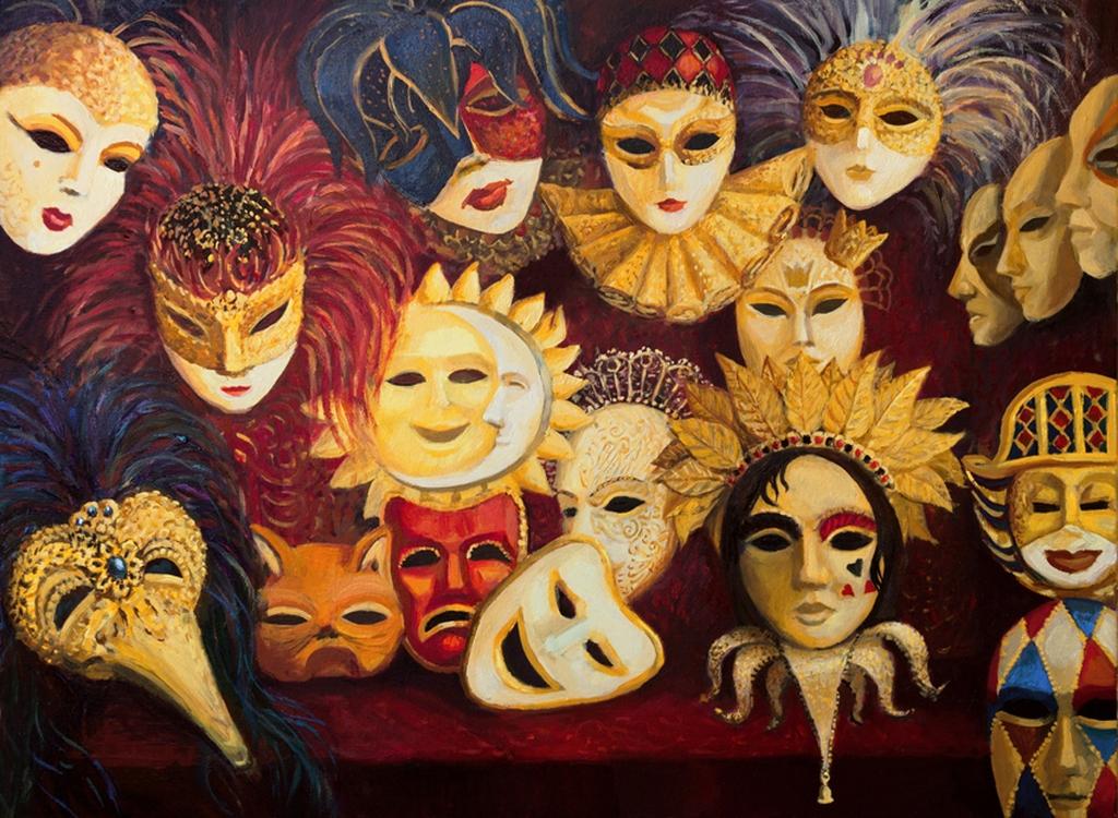 "3D Фотообои  ""Венецианские маски"""